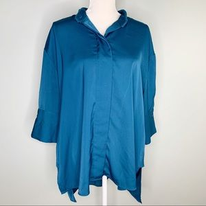 Who What Wear Blouse Green Teal  XL Hi Lo Button